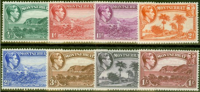 Valuable Postage Stamp from Montserrat 1938 Perf 13 set of 8 to 1s SG101-108 V.F Very Lightly Mtd Mint