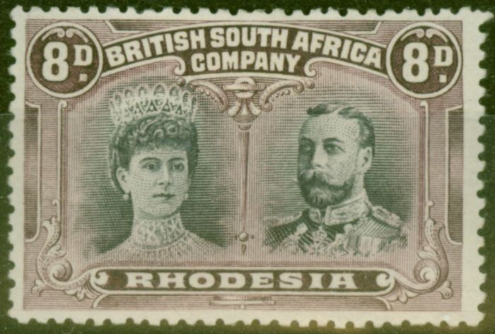 Valuable Postage Stamp from Rhodesia 1910 8d Grey-Purple & Purple SG185a P.13.5 Fine & Fresh Mtd Mint