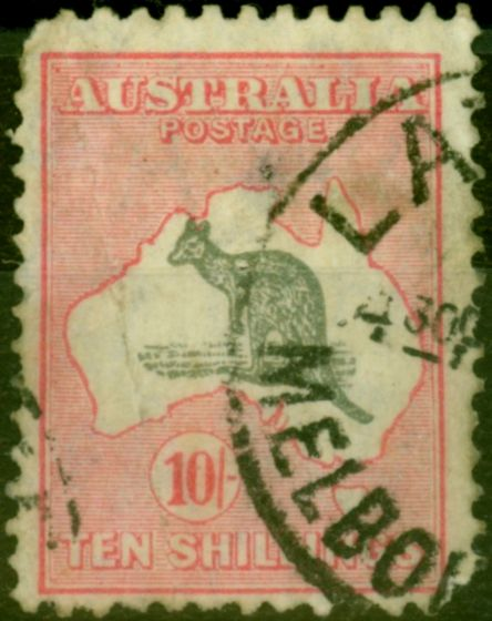 Old Postage Stamp from Australia 1932 10s Grey & Pink SG136 Poor Used