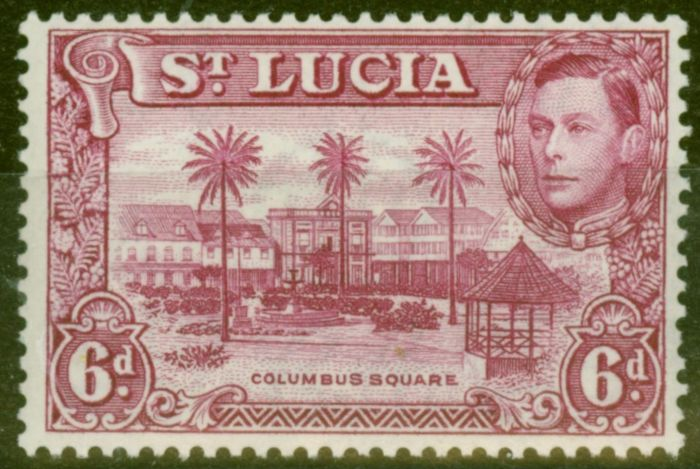 Valuable Postage Stamp from St Lucia 1938 6d Claret SG134 P.13.5 Fine Very Lightly Mtd Mint