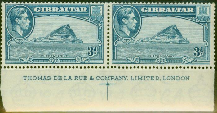 Old Postage Stamp from Gibraltar 1938 3d Light Blue SG125 P.13.5 MNH Imprint Pair