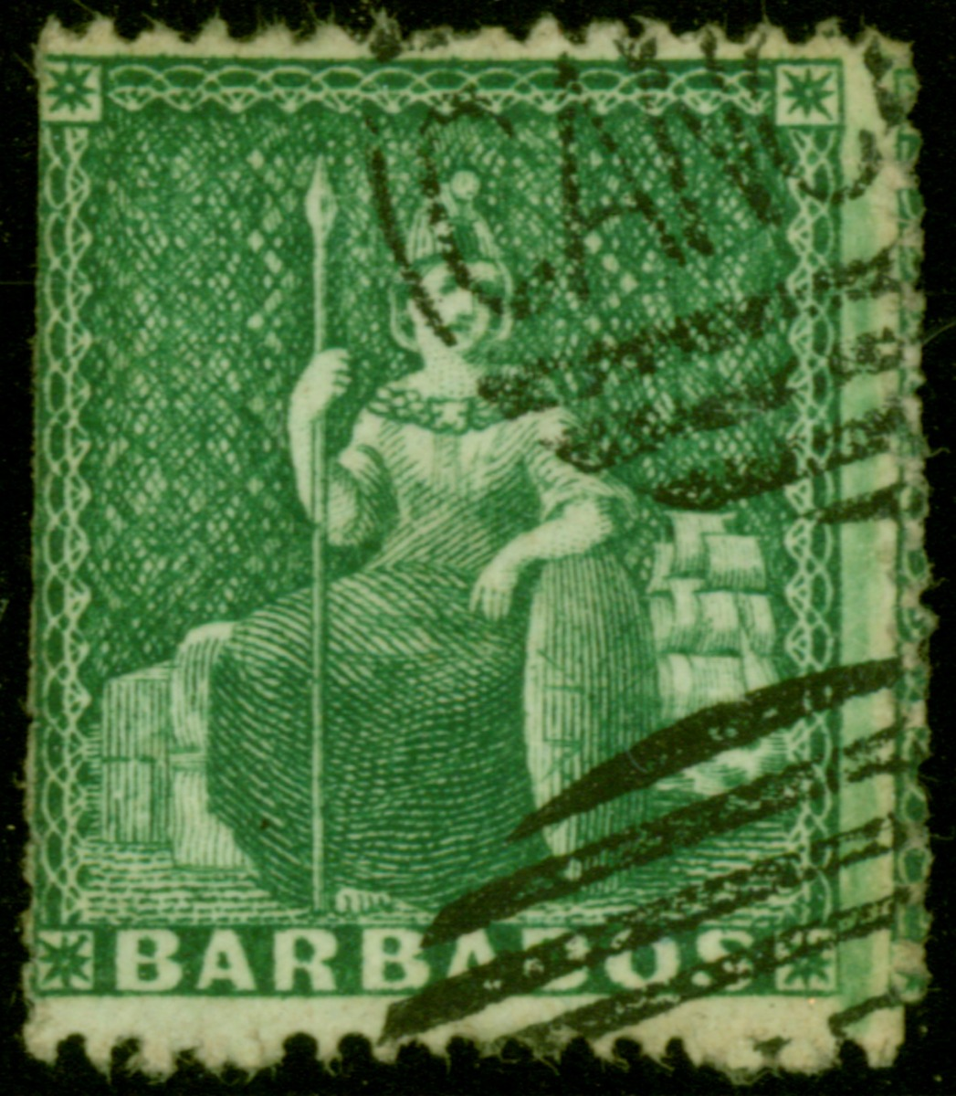Barbados 1861 SG17 Perkins Bacon Hand Cancelled Stamp