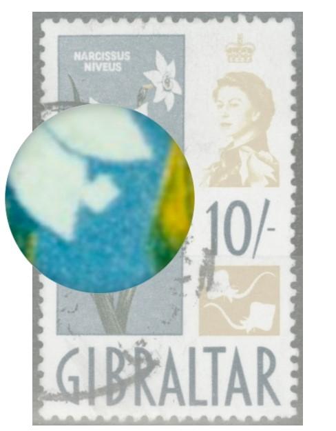 Gibraltar close up of stamp error
