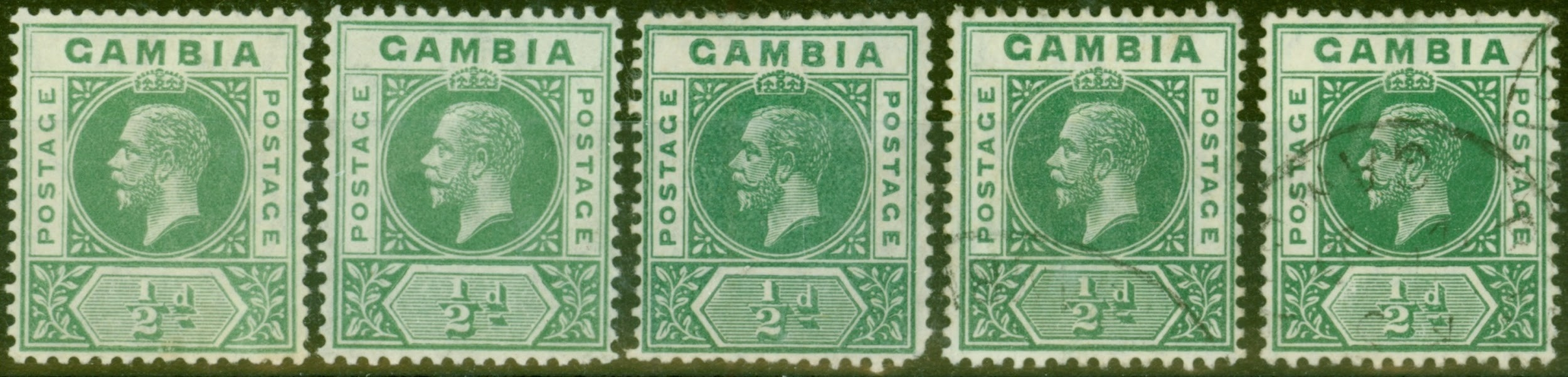Stamp Error Gambia KGV Deformed B