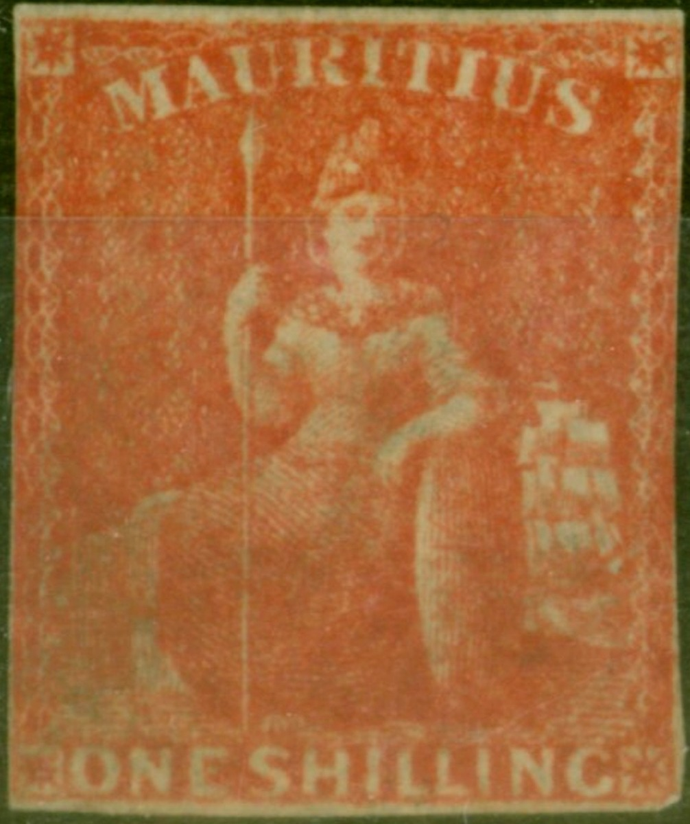 Valuable Postage Stamp from Mauritius 1859 1s Vermilion SG34 Good Unused CV £3250